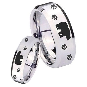 His Her Mirror Beveled Bear and Paw Silver Tungsten Wedding Rings Set