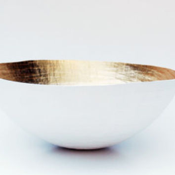 Paper Mache Bowl White and Gold The Moon Large by etco on Etsy