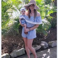 DCCKNY6 Mother Daughter Dresses 2017 Summer Family Clothing Mom and Daughter Dress Family Matching Outfits Dress for Kids and Women