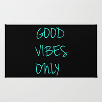 Good Vibes Only Area & Throw Rug by productoslocos | Society6