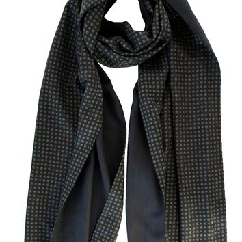 Calabria-Double Face Heavy Weight Silk Scarf-Black & Green