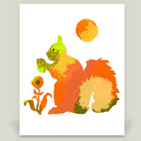 colorful squirrel 1 Art Print by lollipoplake on BoomBoomPrints