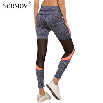 NORMOV S-L Women Workout Mesh Leggings Activewear Push Up Legging Femme Casual Polyester Breathable Legging Female