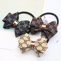 "Hot Sale ""GUCCI"" Popular Women Bowknot Hair Rope Letter Head Rope Hair Band I12465-1"