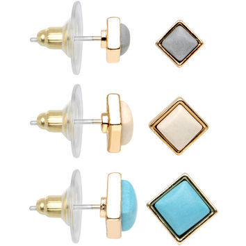 Gleaming Trendy Chic Square Stud Earrings 3 Pair Set