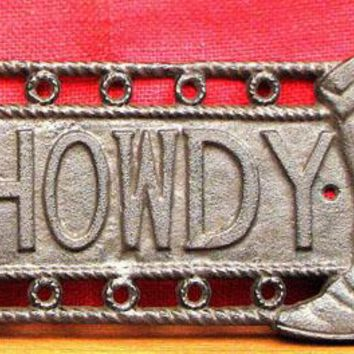 Cast Iron Star & Boot Howdy Sign