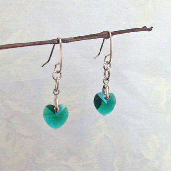 Emerald Heart Earrings, Swarovski Heart Earrings, 925 Sterling Silver, Dangle Earrings, Love Earrings, Handcrafted Earrings, Valentine's Day