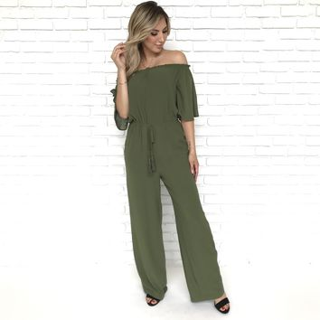 Just You & I Olive Jumpsuit
