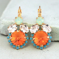 Coral Mint Earrings,Orange Turquoise Drop Earrings,Swarovski Orange earrings,Bridesmaids Earrings,Gift for her,Bridal Crystal Earrings