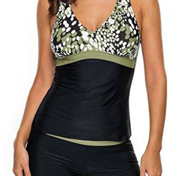 Chase Secret Womens Two Pieces Tankini Top with Boyshort Swimsuit Swimwear SXXL
