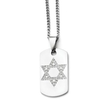 Synthetic Cz Star of David Dog Tag Pendant Necklace in Stainless Steel - Lobster