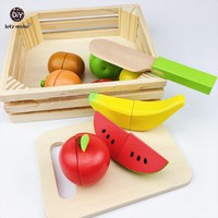 Baby Montessori Wooden Toys 11pc Fruit Kitchen Cutting Toys Early Development and Education Toy for Baby Gifts Blocks