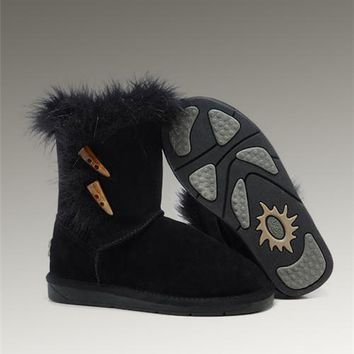 UGG Fox Fur Short Boots 5685 Black