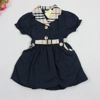 2015 New Girls clothing brand baby girl's summer dress fashion plaid kids dress cotton children dresses 1-6Y girls clothes