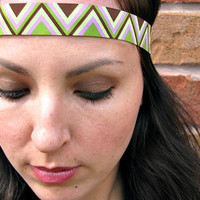 Chevron print Boho headband, zig zag, Olive green, brown and lavender, Bohemian headband, elastic back