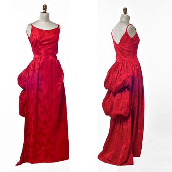 Vintage 50's/60's Red Brocade Formal Length Wiggle Dress with Poufed Train Non-Traditional Wedding size Small