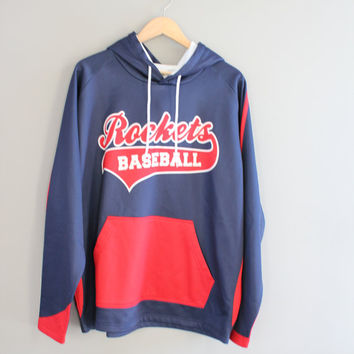 Vintage Baseball Hoodie Rockets Jersey Hoddie Baseball Collectible Kamazu 24 Fleece Lining Oversize Pullover Vintage 90s Size XL #T102A
