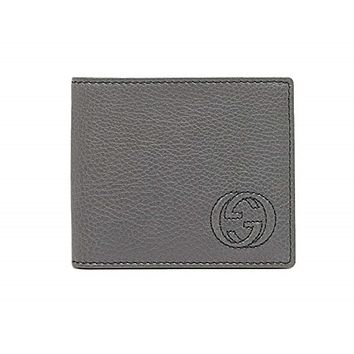 Gucci Men's Classic Gray Pebbled Leather Monogram Bifold  Billfold Wallet 322114