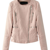 Peach Collarless Leather Look Biker Jacket With Zipper Detail - Choies.com