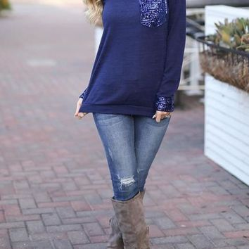 Blue Patchwork Sequin Pockets Long Sleeve Plus Size Sparkly Christmas Oversized Casual T-Shirt
