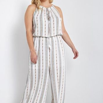 Helena Striped Jumpsuit White