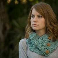Mint Cowl, Sea Green Crochet Cowl with Wood Buttons