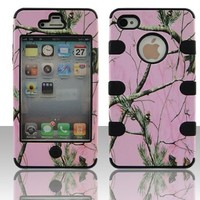 Apple iPhone 4 4s hybrid 3 in 1 Pink Oak with Black Gel Realtree hunting camo camouflage high impact shock defender plastic outside with silicone inside 3 in1 2D hard case phone cover