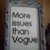 More issues than Vogue... completed framed mini cross stitch