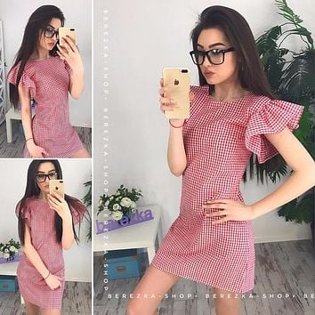 Women Sweet Cute Short Butterfly Sleeve Dress 2018 Spring Summer Plaid O-Neck Mini Dresses Casual Female Black Red Vestidos