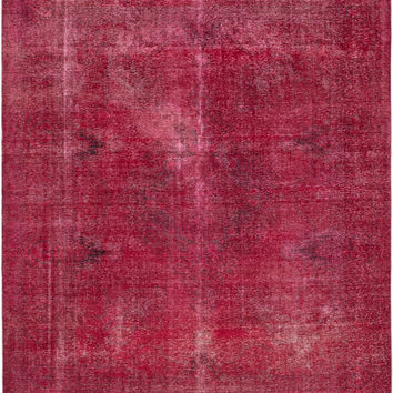 "9'11"" x 12'5"" Pink Turkish Overdyed Rug"