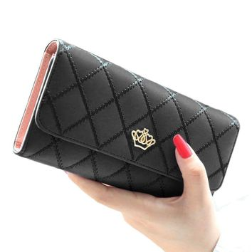Black & Pink Leather Pleated Royal Clutch Wallet