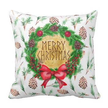 Merry Christmas Pine Wreath Throw Pillow