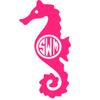 Monogrammed Seahorse Decal - Personalized 2in x 4in Nautical Sticker - Cute Custom Decal for Car - Many Colors - Beach Theme for Summer