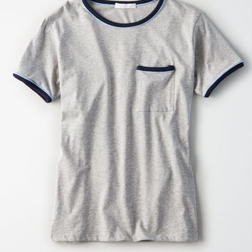 Don't Ask Why Ringer T-Shirt, Heather Gray