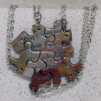 Friendship Puzzle Piece Necklace Set of 5 Best Friend Pendants Always together Mixed Metallics
