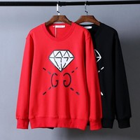 One-nice™ GUCCI Women Man Fashion Snake Print Long Sleeve Top Sweater Pullover Hoodie