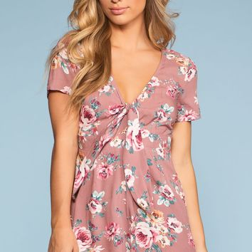 What's Bloomin' Tie-Front Floral Romper - Mauve