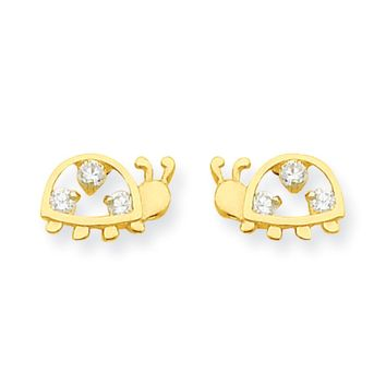 Kids Cubic Zirconia Spotted Ladybug Post Earrings in 14k Yellow Gold