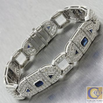 Antique Art Deco Style 18k White Gold 2.50ct Sapphire 4.05ct Diamond Bracelet