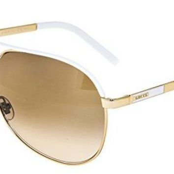 cd31cef5241a7 GUCCI Aviator GG1827S Gold Metal White Sunglasses Brown Gradient