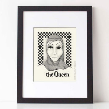 THE QUEEN,  Chess Series: Art print, black and white pen and ink drawing, ink illustration, pen drawing 8x10 Limited Edition fine art print