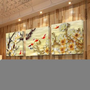 Oil Painting Cuadros Magnolia Flower 3 Piece Wall decorative Modular Pictures for living room Art Print In Canvas paintings (no