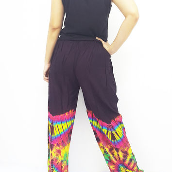 PTT1-37 Yoga Pants Gypsy Rayon Tie Dye Pants Long Pants Hippy Pants Boho Pants Tie Dye Purple