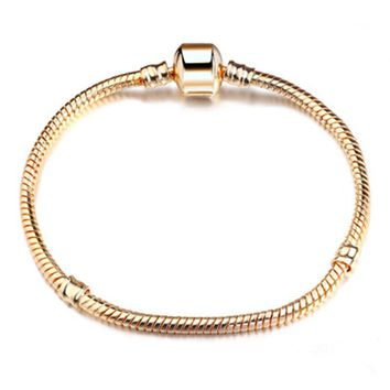 Popular 2017 Basic Snake Chains Clasp Chain Bracelets European Bracelets & Bangle DIY Jewelry Gold/Silver Color Hot Sell Gift