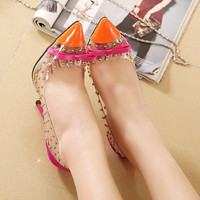 New Arrival 2015 Summer Fashion Transparent Film Rivet Bow Pointed Toe Pumps Women Shallow Mouth Red Bottom  Wedding Shoes