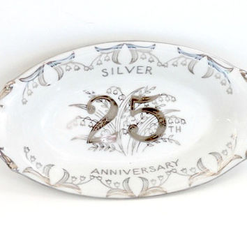 vintage silver 25th anniversary Norcrest fine china butter dish~retro antique white and silver ceramic butter dish~gift for 25th anniversary