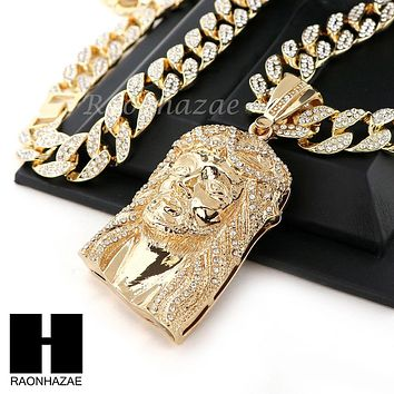 "Hip Hop 14k Gold Plated Jesus Face PAVE Pendant 30"" Iced Out Cuban Link Chain N4"