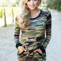Not Just Another Camo Long Sleeve Top Black