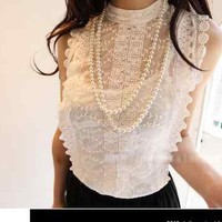 SEXY LADY SLEEVELESS STAND-UP COLLAR LACE TOP WITH CAMISOLE BLOUSE 3359