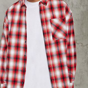 Slim-Fit Flannel Longline Shirt
